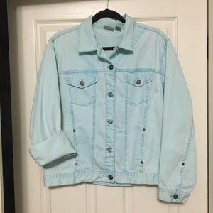 CHICO'S baby blue cotton & spandex jacket size 2